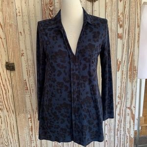OLIVACEOUS BLUE/BLACK ANIMAL PRINT SUEDED TUNIC